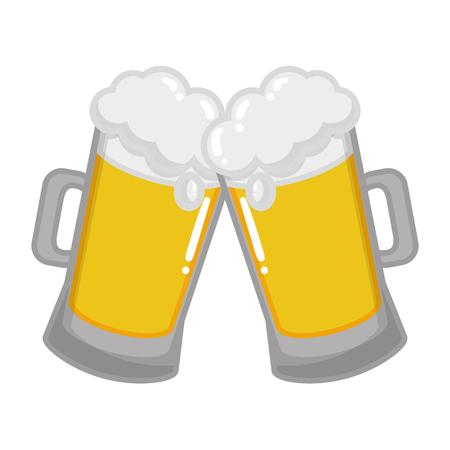 two beer mugs foam celebration vector illustration Imagens - 126017338