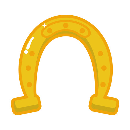 golden horseshoe on white background vector illustration