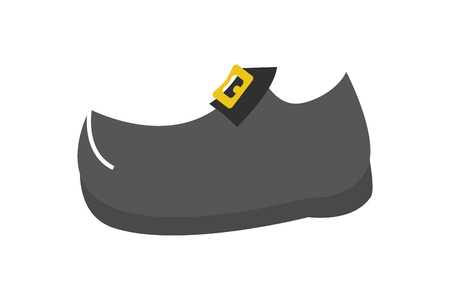 black shoe with golden buckle vector illustration