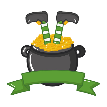 leprechaun legs cauldron coins happy st patricks day vector illustration Standard-Bild - 126017351
