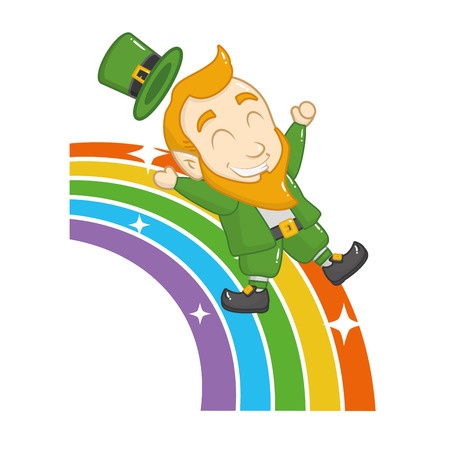 leprechaun on rainbow happy st patricks day vector illustration Ilustracja