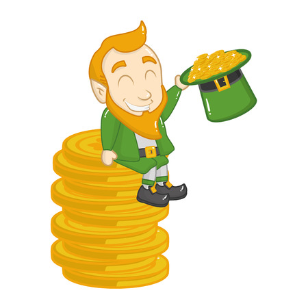 leprechaun sitiing coin with hat happy st patricks day vector illustration Ilustracja