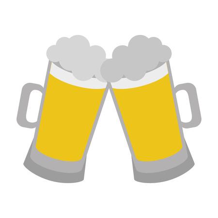 two beer mugs foam celebration vector illustration