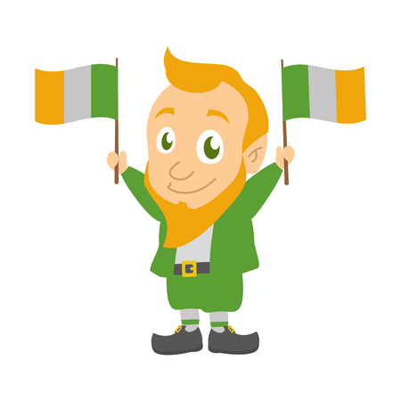 leprechaun with irish flags happy st patricks day vector illustration Ilustracja