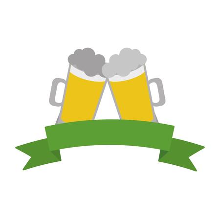 two beer mugs celebration ribbon white background vector illustration 向量圖像