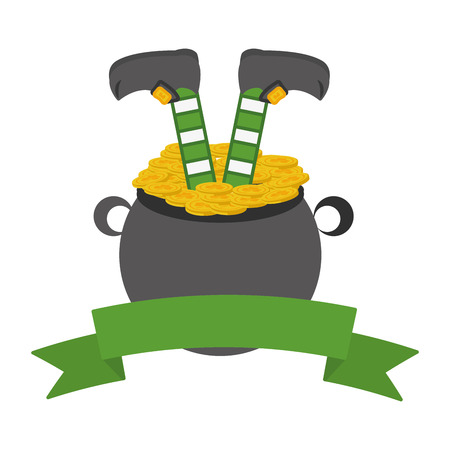 leprechaun legs cauldron coins happy st patricks day vector illustration
