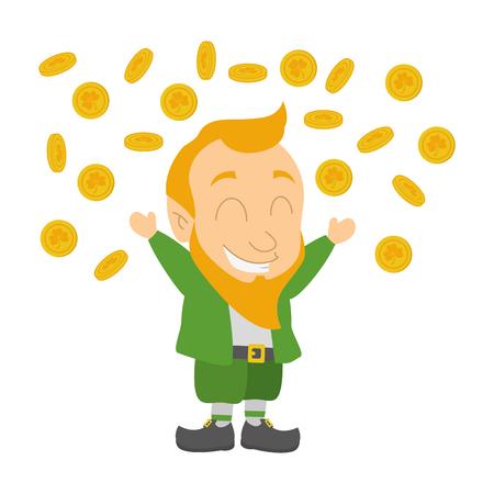 falling coins leprechaun happy st patricks day vector illustration Foto de archivo - 115570449