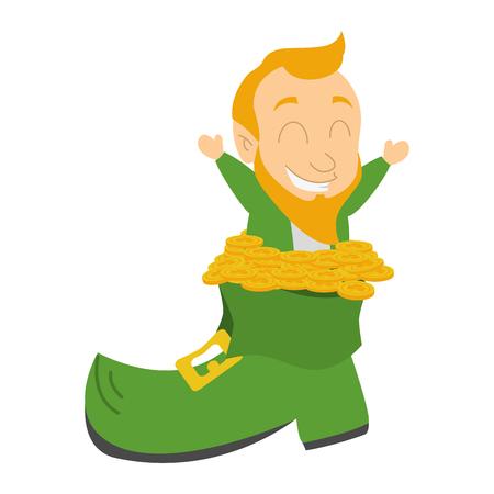 leprechaun filled boot coins happy st patricks day vector illustration Ilustração