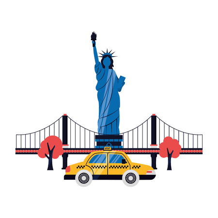 statue of liberty taxi bridge new york city vector illustration Çizim