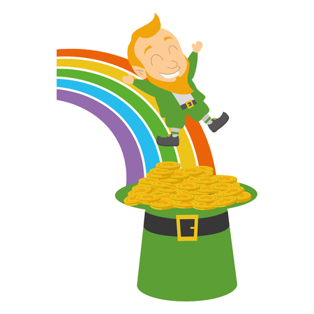 falling leprechaun rainbow hat coins st patricks day vector illustration