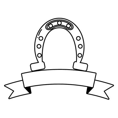 horseshoe lucky ribbon happy st patricks day vector illustration 일러스트