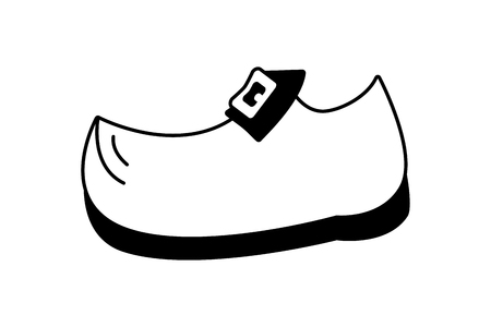 shoe with buckle black and white vector illustration 일러스트