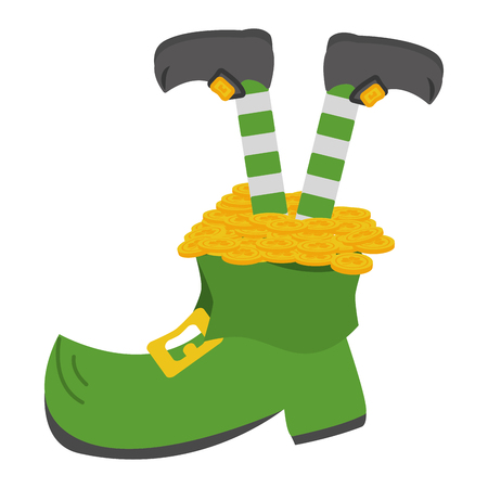 leprechaun legs boot and coins happy st patricks day vector illustration Ilustrace
