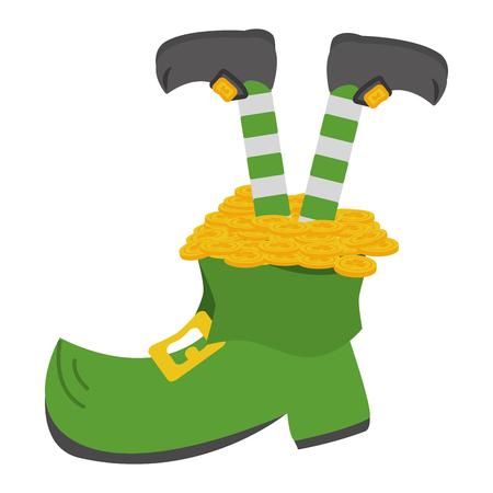 leprechaun legs boot and coins happy st patricks day vector illustration Illustration