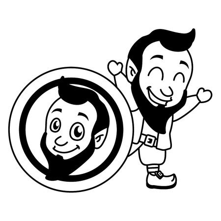 leprechaun big coin happy st patricks day vector illustration