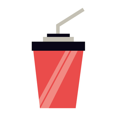 red paper cup soda with straw vector illustration