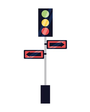 traffic lights pole arrows signal vector illustration