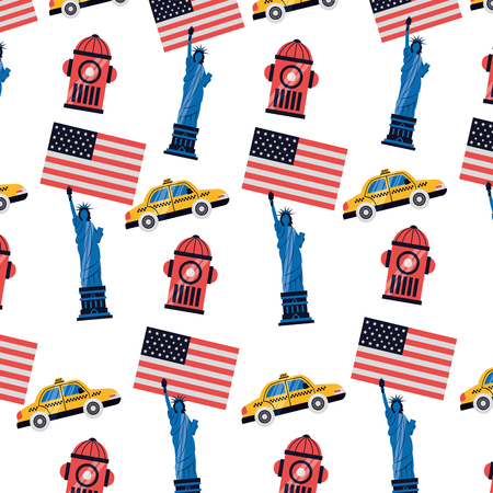 statue of liberty building taxi background new york city vector illustration  イラスト・ベクター素材
