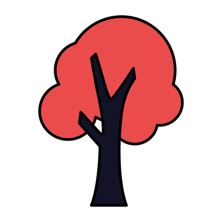 red tree nature on white background vector illustration