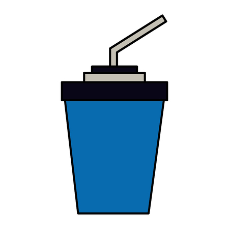 paper cup soda with straw vector illustration