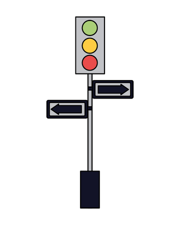 traffic lights pole arrows signal vector illustration