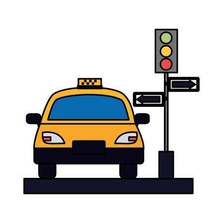 taxi service public traffic light arrows vector illustration Banque d'images - 115570756
