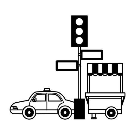 taxi traffic light arrows food booth vector illustration 向量圖像
