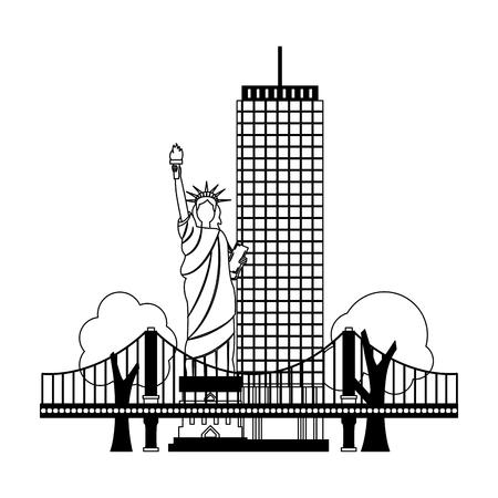 statue of liberty building bridge new york city vector illustration