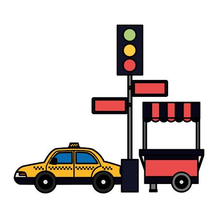 Taxi semáforo flechas cabina de comida ilustración vectorial