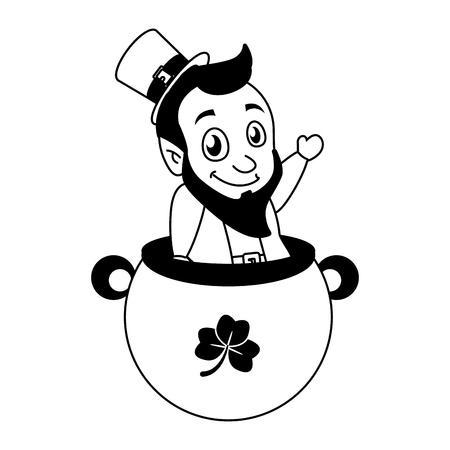 leprechaun on cauldron with coins happy st patricks day vector illustration Foto de archivo - 115570503