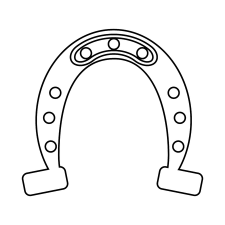 horseshoe on white background vector illustration outline Illustration