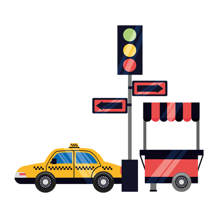 taxi traffic light arrows food booth vector illustration Illustration