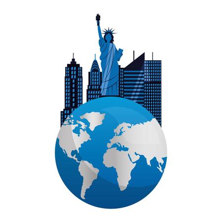 statue of liberty building world new york city vector illustration