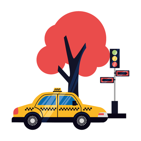 taxi service traffic light arrows tree vector illustration Archivio Fotografico - 115607277