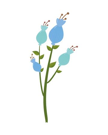 flowers stem leaves on white background vector illustration 向量圖像