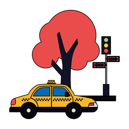 taxi service traffic light arrows tree vector illustration Archivio Fotografico - 115607280