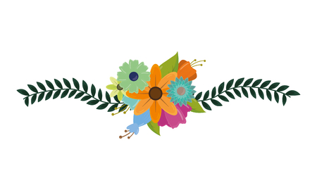delicate flowers leaves on white background vector illustration Illusztráció