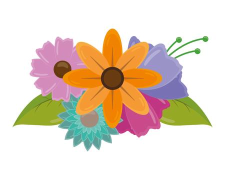 flowers leaves decoration on white background vector illustration Ilustrace