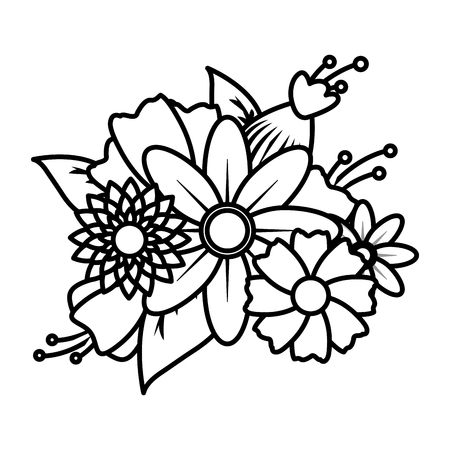 flowers leaves decoration on white background vector illustration 写真素材 - 125978904
