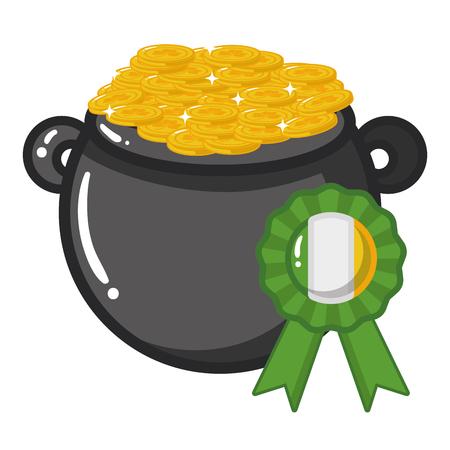 cauldron medal coins happy st patricks day vector illustration