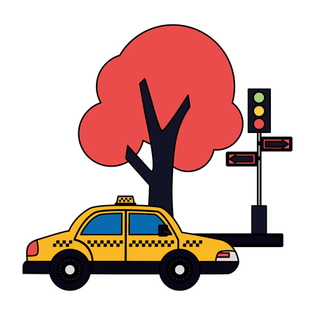 taxi service traffic light arrows tree vector illustration Banque d'images - 115686557