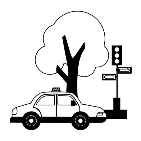 taxi service traffic light arrows tree vector illustration Archivio Fotografico - 115686559
