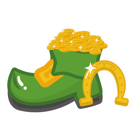 shoe horseshoe coins happy st patricks day vector illustration 일러스트
