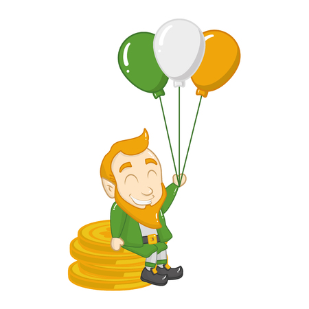 leprechaun coins balloons happy st patricks day vector illustration