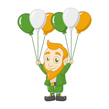 leprechaun with balloons happy st patricks day vector illustration