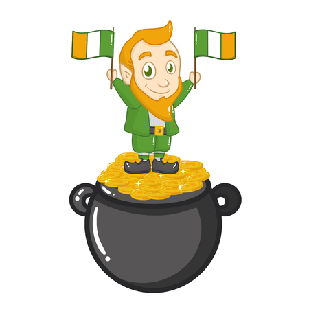 leprechaun flags coins cauldron happy st patricks day vector illustration