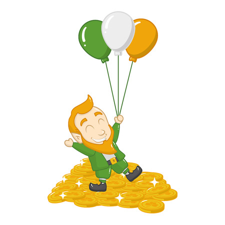 leprechaun with balloons coins happy st patricks day vector illustration Stok Fotoğraf - 125978940