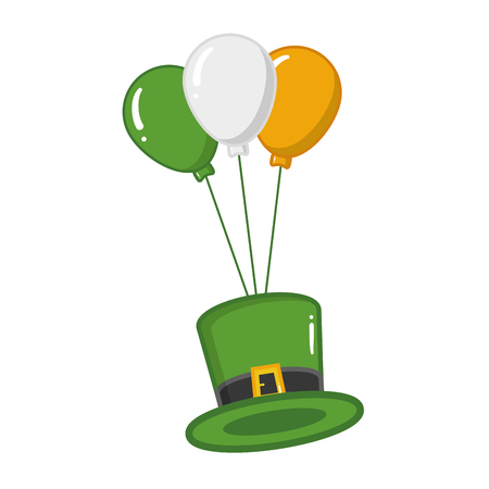 green hat balloons happy st patricks day vector illustration Ilustracja