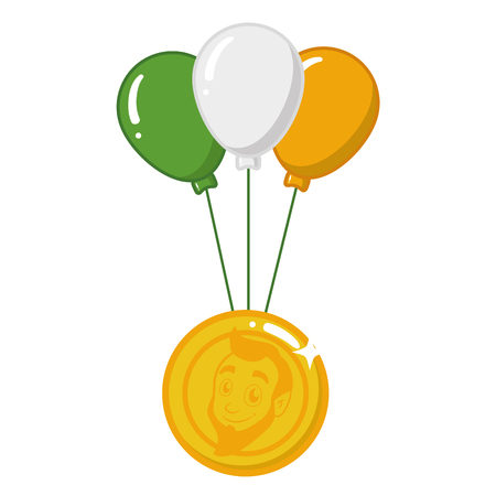 coin and balloons happy st patricks day vector illustration