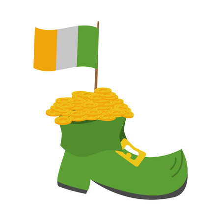 boot flag and coins happy st patricks day vector illustration